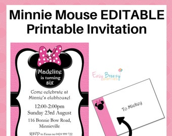 Pink Minnie Mouse EDITABLE Printable Party Invitation - Instant Digital Download - A4 and Letter Sizes