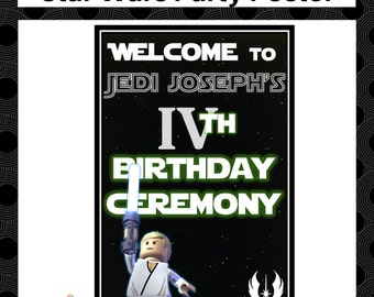 STAR WARS printable party welcome poster - Personlisation included - Star Wars Lego design - Instant digital download