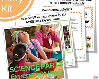 Science Party EXPERIMENT KIT - Complete instructions for six AWESOME kids party experiments - Printable laboratory signs - Digital download