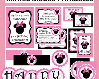 Minnie Mouse Printable Set - FREE customization - Invitation, Party bag tags, Circles, Drink labels, Bunting  - Instant Digital Download