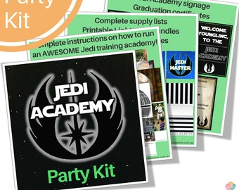 Star Wars JEDI TRAINING ACADEMY Party Kit - Activities, Graduation certificate, Lightsaber handle, Posters  - Instant digital download