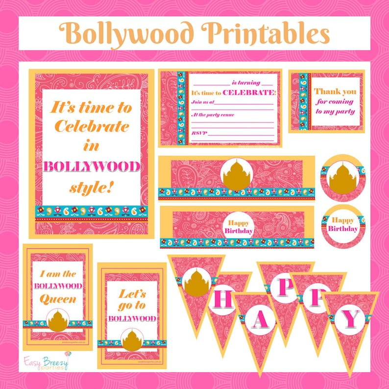 Bollywood Bling Printable Party Pack  Kids party invitation image 0