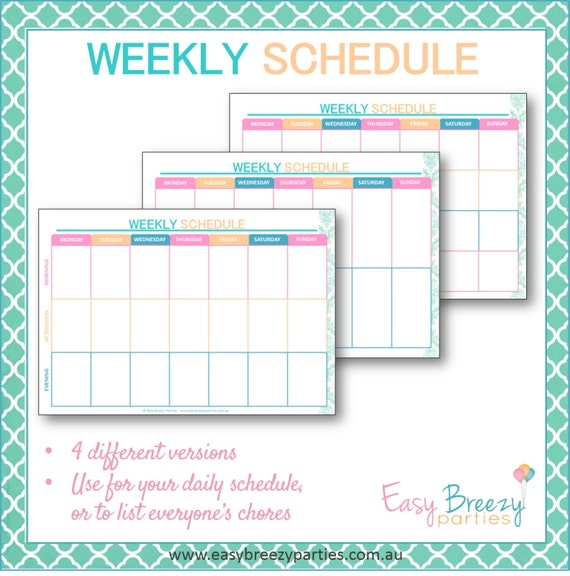 weekly time table chart