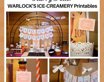 HARRY POTTER 'Warlock's Ice-Creamery' Sundae Station party printable pack - digital download