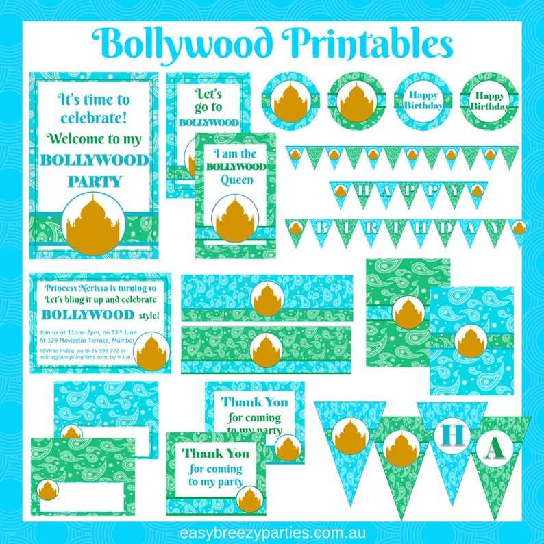 Bollywood party printable pack  Turquoise  Invitation image 0