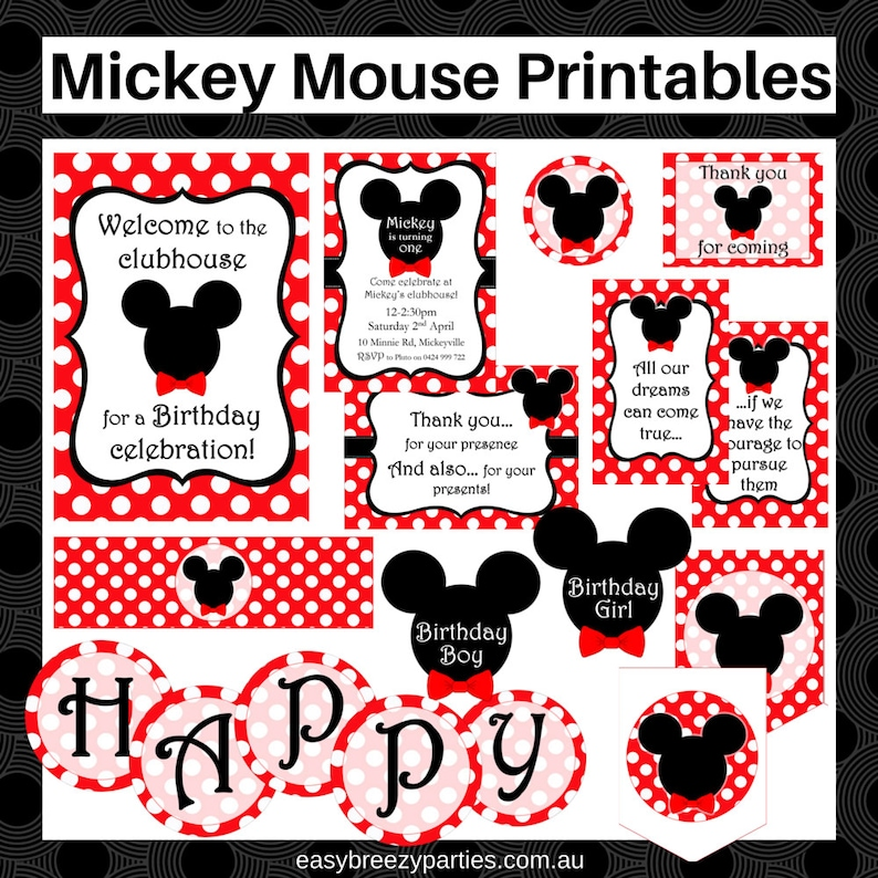 Mickey Mouse Printable Set  Personalized invitation Party image 0