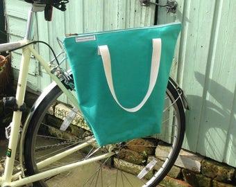 Bicycle pannier bag & shoulder tote - waxed canvas