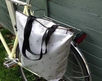 Waterproof Bicycle pannier bag & shoulder tote with cross body strap - Stars oil cloth.
