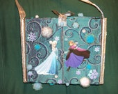 Frozen cigar box purse, beautiful handmade Elsa Anna Olaf Sven 3D blizzard of satin embroidered fabric-Blue silver ribbons-Ice flurry