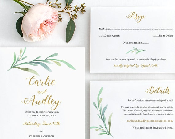 Greenery Wedding Invitation Set Templates, Printable Wedding Invitations, Rsvp and Details cards | Greenery | Edit in WORD or PAGES