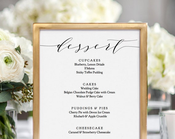 "Dessert Menu Printable Sign, DIY Wedding Dessert Menu 8x10"" ""Wedding"" Editable PDF"