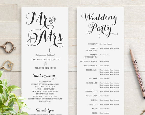 Long Wedding Programs, Printable Wedding Program, Mr and Mrs, Mrs and Mrs, Mr and Mr, Wedding Order of Service, Corjl, 'BYRON'