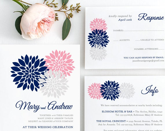 Navy blue, pink, blush, silver Wedding Invitation template printable, Flowers Invitation, RSVP, Info, any colours