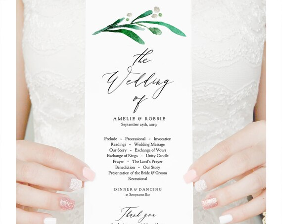 "Long Wedding Program Printable Order of Service Template, Greenery Wedding, Edit Print Trim ""Wedding Greenery"" Editable PDF"