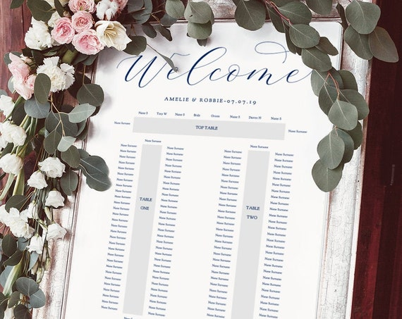 "Navy Blue Banquet Seating Plan Template, 3 banquet tables, DIY Printable wedding seating plan ""Beautiful"" 24x36"" and A1 sizes, Editable PDF"