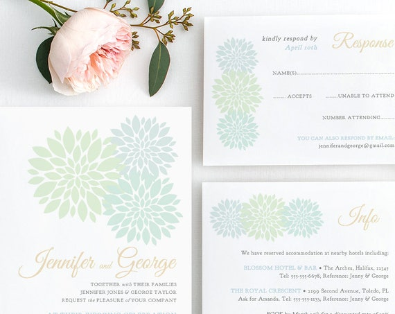 Mint Wedding Invitation Set templates, printable mint green blue invitations, RSVP, Info, Flowers, any colours. Edit in WORD or PAGES