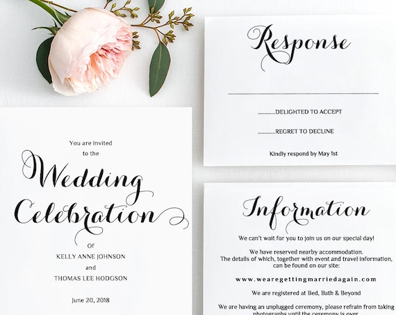 Printable Wedding Invitation Suite | Byron | Invitation RSVP and Info Template | Edit in WORD or PAGES