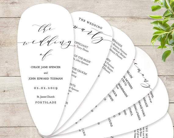 "Petal Fan Wedding Program Printable Template DIY Fan Wedding Program with Petals ""Wedding"" Edit in WORD or PAGES"