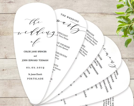 "Petal Fan Wedding Program Printable Template DIY Fan Wedding Program with Petals ""Wedding"" Corjl Templates, FREE Demo"