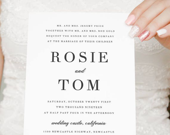 Elegant Wedding invitation, simple and classic wedding invitations. Invitation, rsvp and details card. 'Rosie'. Edit in Word or Pages