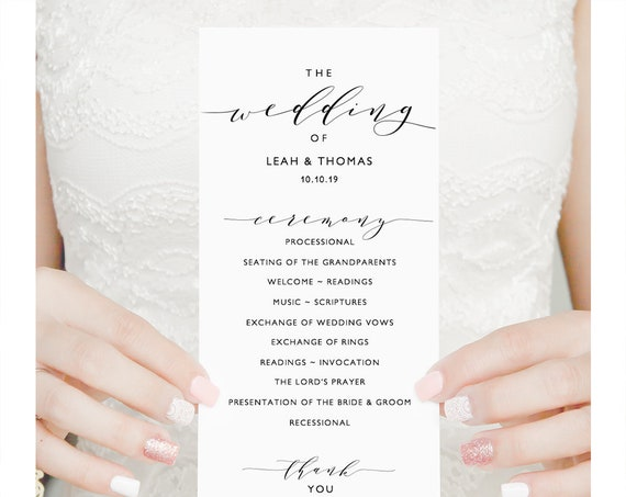 "Long wedding program template, DIY Printable program, Order of Service, ""Wedding"" Edit in WORD or PAGES"