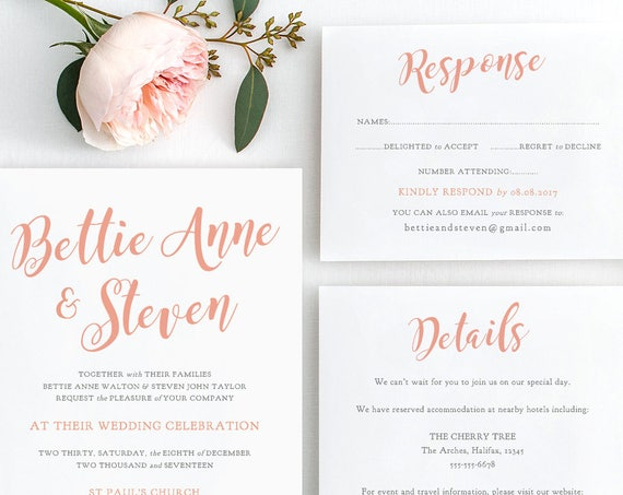 Wedding Invitation suite, shown in Coral, wedding printable set, Invitation, RSVP, Details, Bettie, any colour, edit in WORD or PAGES