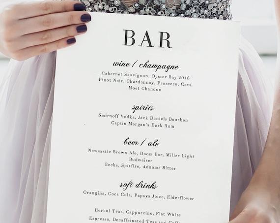 Wedding Bar Menu, Wedding Bar Menu Printable Template, elegant and classic wedding 'Rosie'. Edit in Word or Pages