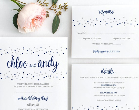 Wedding Invitation Suite, Printable Invitation Set. Navy + Silver or ANY colours, Dotty Shimmer | Edit in WORD or PAGES