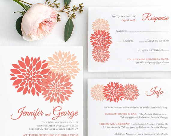 Coral wedding Invitation template printable, coral invitation set, Flowers Invitation, RSVP, Info, any colour | DIY printable template