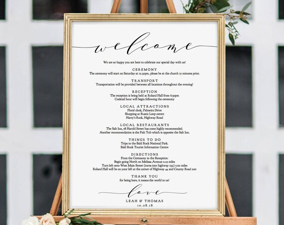 """Welcome Itinerary Sign, Order of the Day Printable Wedding Sign, DIY Printable Signs in 18x24"""", 24x36"""", A1 and A2, """"Wedding"""" Edit in ACROBAT"""