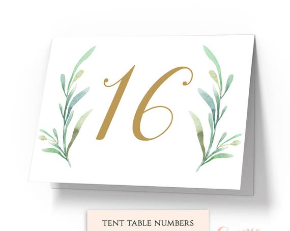 "Greenery Tent Wedding Table Numbers Template, Printable Reception Table Number - 5x7"" DIY Number Cards. Edit in WORD or PAGES"