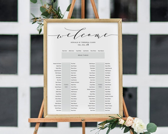 "2 tables plus top table Seating Plan Template, DIY Printable Portrait Table Plan, ""Wedding"", Editable PDF"