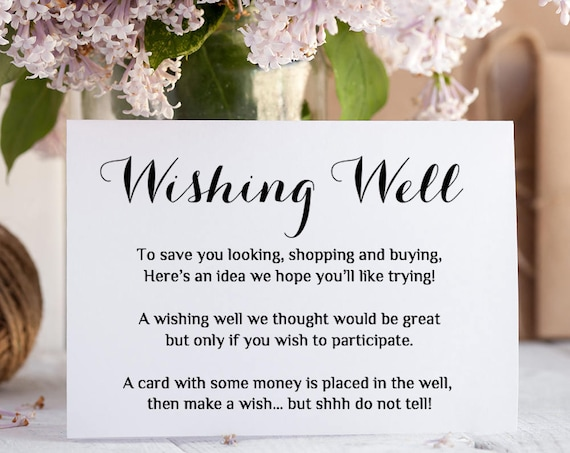 Printable Wedding Wishing Well card | any colour Wishing Well poem Template | Byron | Editable Word Template