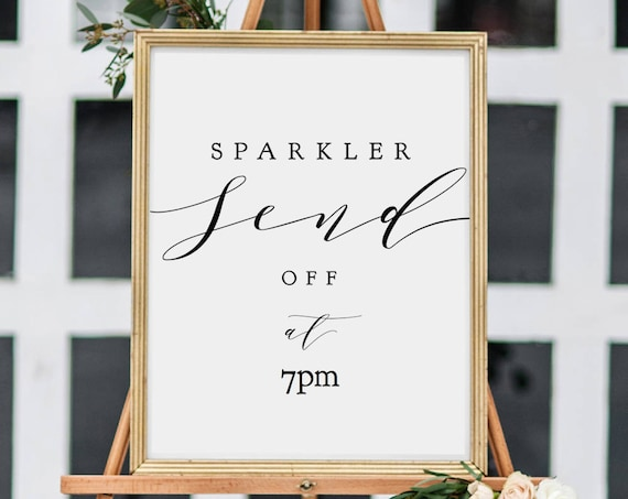 "Sparkler Send Off Sign Printable template, Wedding Sparkler Sign 8x10"", 18x24"" wedding sign, ""Wedding"" Editable PDF"
