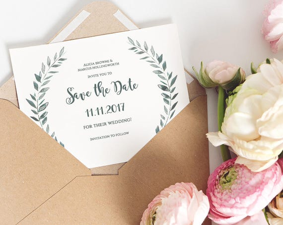 Rustic Save the Date Printable Template, Printable Save the Date, Instant Download, Royal Gardens, Edit in WORD or PAGES