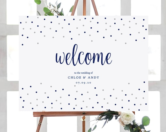 "Navy Silver Dots Welcome Sign Printable Template, Confetti Welcome Sign, Printable Template, 18x24"" and A2 size, Dotty Shimmer, Editable PDF"