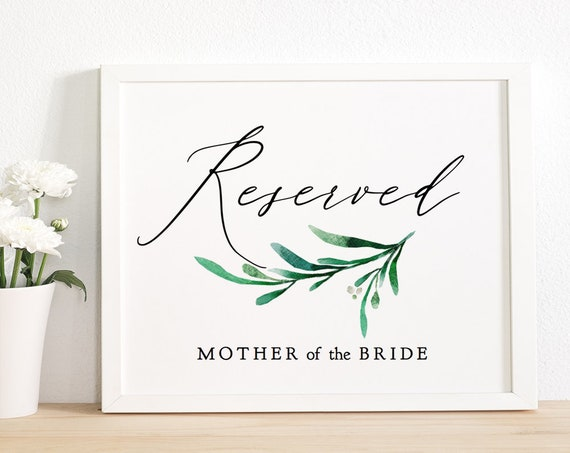 "Greenery Reserved Sign Printable Wedding Reserved Seating Sign ""Wedding Greenery"" Wedding Signage, 8x10"" Editable PDF"