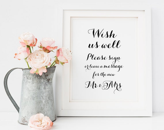 Printable Mr and Mrs sign wedding sign, Sign or leave a message for the new Mr and Mrs 8x10 instantly download and print!