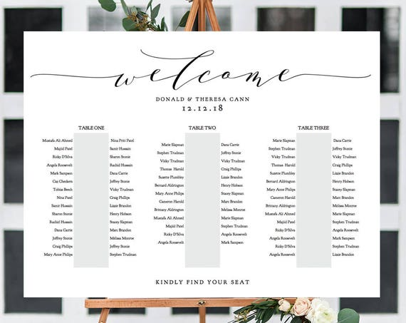 "Banquet Seating Chart 3 Long Tables, Banquet Table Plan Printable Template, ""Wedding"", 18x24"" 24x36"", A1, A2 sizes included Editable PDF"