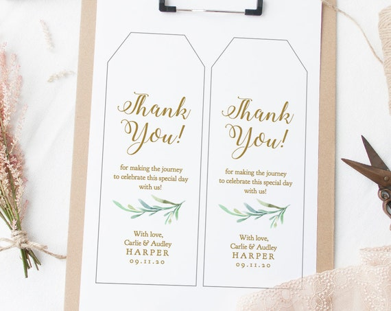 """Long & Wide Label Tags, Printable Very Large Tags, 4.75x7.5"""" and 3.5x9"""" included, 2 per page, Greenery, Edit in ACROBAT"""