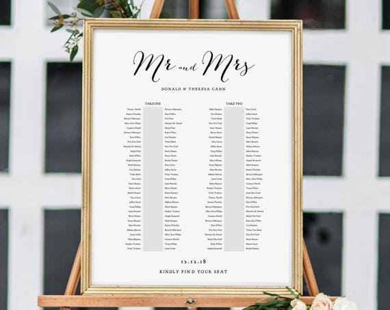 Banquet Seating Chart, 2 Long Tables, Banquet Table Plan Printable Template, Wedding Banquet Tables, 6 sizes included, Editable PDF