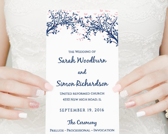 Long Wedding Program Template, Tree wedding program, Leaves, instant Download | Edit in WORD or PAGES