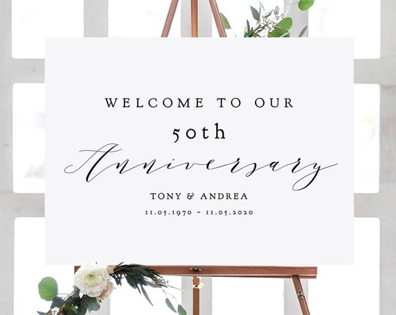 "Welcome to our Anniversary Sign, 50th Anniversary or any other number, DIY Printable Sign, ""Wedding"" 4 sizes included, Editable PDF"