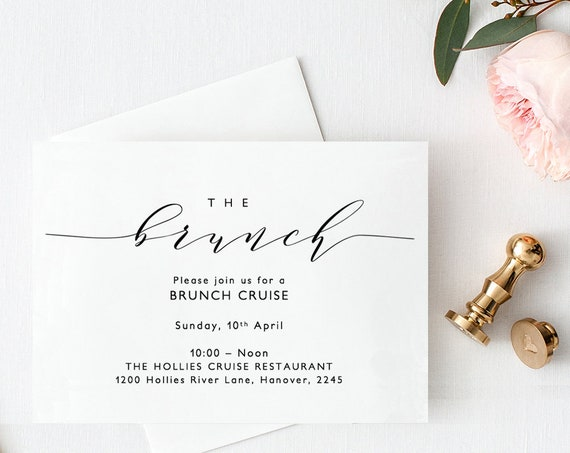 "Brunch Invitation Card, Printable Wedding Brunch, Brunch Cruise, A6, 5.5x4"" and 5x7"", ""Wedding"" Edit in WORD or PAGES"