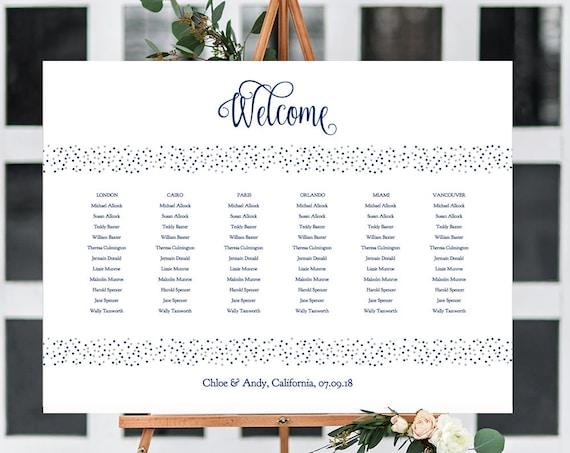 Navy Wedding Seating Chart, Confetti Table Plan Printable Template, Navy & Silver, Dotty Shimmer, Editable PDF