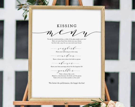 "Kissing Menu, Wedding Ideas, Kissing Menu Printable Sign, Wedding Games, Wedding Signage, 8x10"" and 18x24"", ""Wedding"", Download and Print"