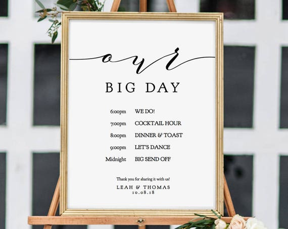 "Order of the Day Wedding Sign, Our Big Day Printable Sign, 8x10"", 18x24"" and A2 wedding signs included, ""Wedding"" Editable PDF"
