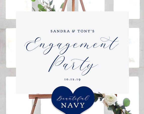 "Navy Blue Welcome Engagement Party Sign, Printable Engagement Sign, ""Beautiful"" Printable Sign 4 sizes included, Edit in ACROBAT"