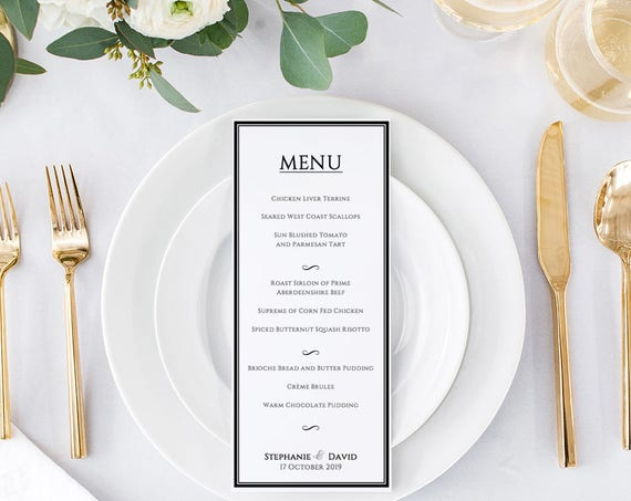 "Border Printable Wedding Menu 4x9"" Template, editable, add your own menu. Piccadilly. DIY Editable printable menu, edit in WORD or PAGES"