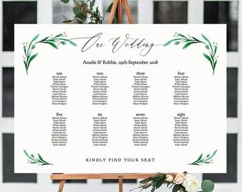 Greenery Wedding Seating Chart Table Plan Templates 10 Sizes Etsy